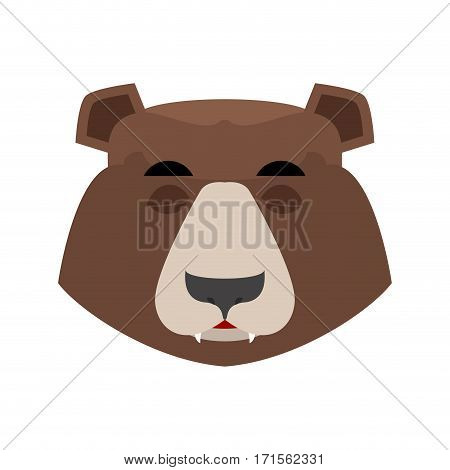 Bear Sleeping Emoji. Grizzly Asleep Emotion. Face Wild Animal Isolated