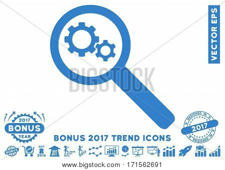 Cobalt Search Gears Tool pictogram with bonus 2017 year trend images. Vector illustration style is flat iconic symbols white background.