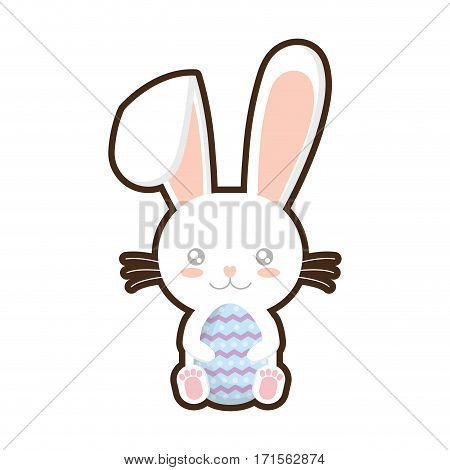 easter bunny whiskers hing egg adorable vector illustration eps 10