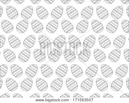 easter eggs decoration seamless pattern monochromatic vector illustration