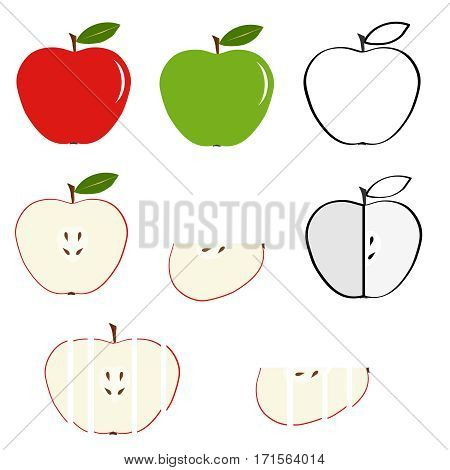 Apple, cut apple, a slice of apple. Flat design, vector illustration, vector.