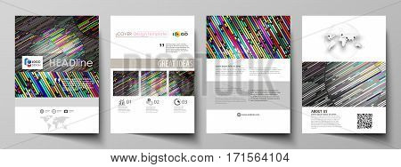 Business templates for brochure, magazine, flyer, booklet or annual report. Cover design template, easy editable vector, abstract flat layout in A4 size. Colorful background made of stripes. Abstract tubes and dots. Glowing multicolored texture.