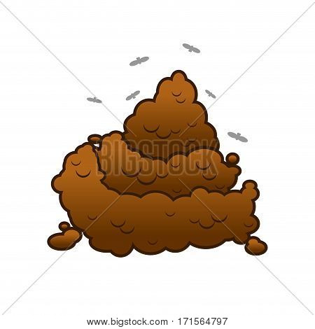 Poop And Flies. Shit Isolated. Turd On White Background.
