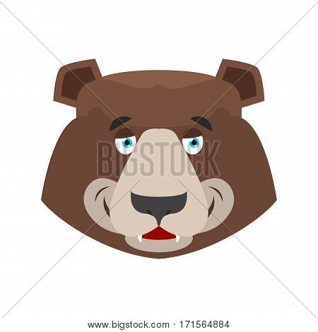 Bear Happy Emoji. Grizzly Merry Emotion. Face Wild Animal Isolated