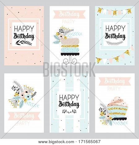 Happy birthday and invitation card with golden sparkle dots cake and flowers . Greeting cards in vintage style pastel colors. Vector illustration.