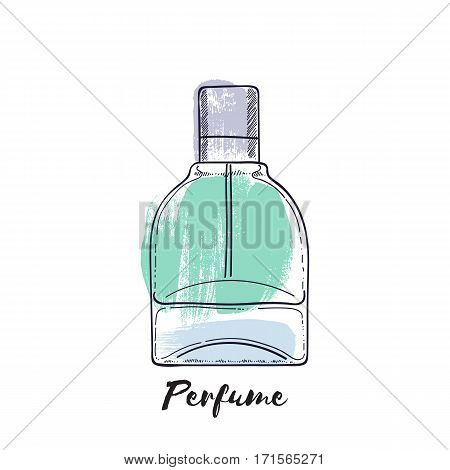 Perfume bottle hand drawn painted vector illustration. Eau de parfum. Eau de toilette. Brush stroke background.
