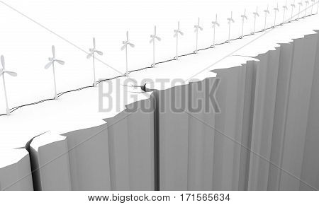 3d. Wind turbine on the brink of a precipice. Pollution-free energy.