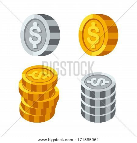 Stacks of gold money coins income profits cash wealth concept banking sign and payment exchange growth economy design earnings metal vector illustration. Investment market savings euro pay.
