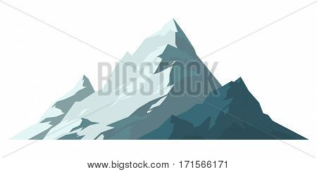 Mountain mature silhouette element outdoor icon snow ice tops and decorative isolated camping landscape travel climbing or hiking geology vector illustration. Adventure peak extreme hill.