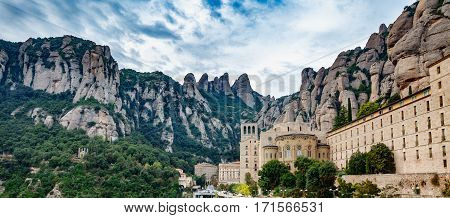 Wide view of Monastery of Santa Maria de Montserrat and mountain in Catalonia, Spain
