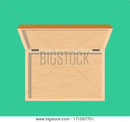 Open Wooden Box Top View Isolated. Casket
