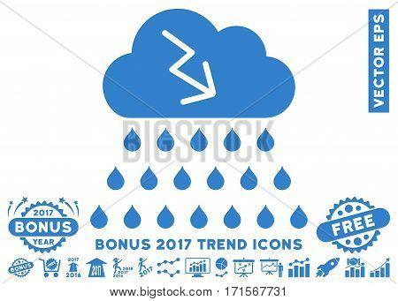 Cobalt Thunderstorm Rain Cloud pictograph with bonus 2017 trend icon set. Vector illustration style is flat iconic symbols white background.