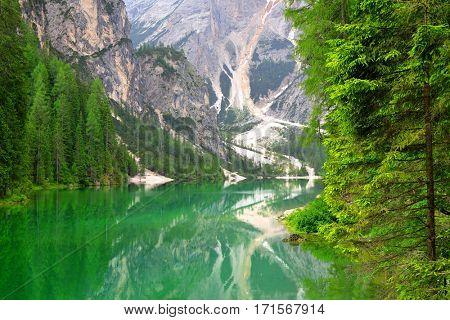 Lago di Braies ( Pragser Wildsee ) in Dolomites mountains - Sudtirol, Italy