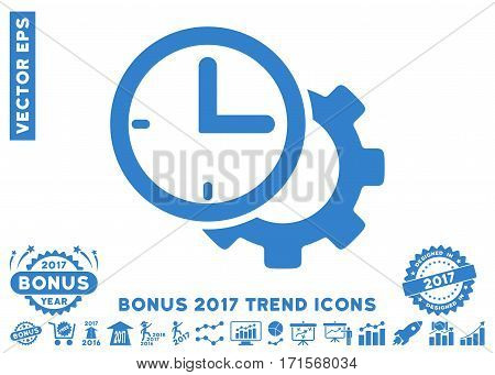 Cobalt Time Setup Gear icon with bonus 2017 trend clip art. Vector illustration style is flat iconic symbols white background.