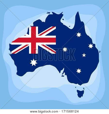 Australia, Australia map, Australia flag. Flat design, vector illustration, vector.