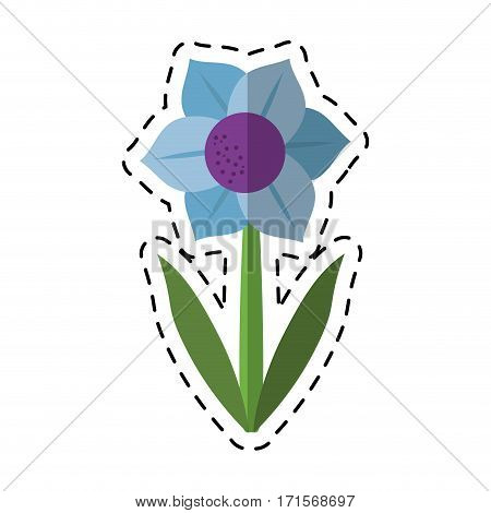 cartoon mona lisa blue flower natural vector illustration eps 10