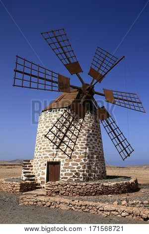 Old Windmill Near Tefia Village, Fuerteventura, Canary Islands, Spain