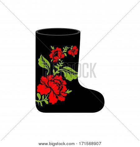 Russian Winter Boots (valenki) Khokhloma Painting. Warm Shoes In Russia