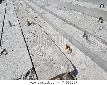 Pile of concrete poles for construction abstract background