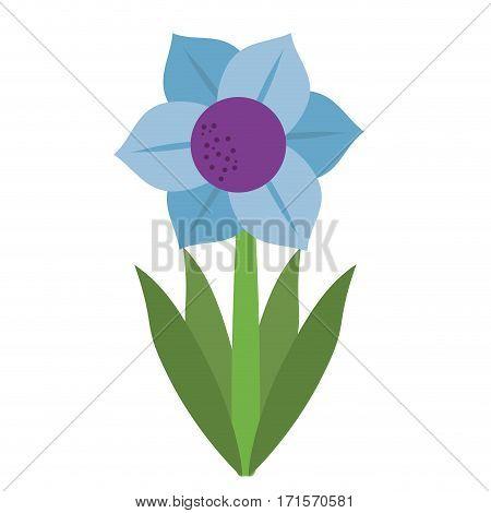 mona lisa blue flower natural vector illustration eps 10