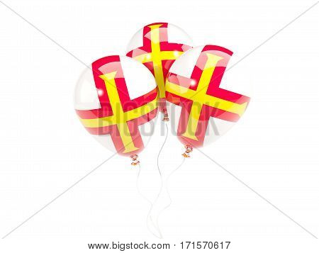 Three Balloons With Flag Of Guernsey
