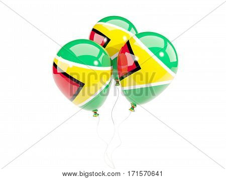 Three Balloons With Flag Of Guyana