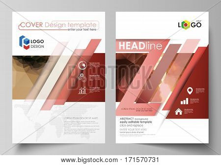 Business templates for brochure, magazine, flyer, booklet or annual report. Cover design template, easy editable vector, abstract flat layout in A4 size. Beautiful background. Geometrical colorful polygonal pattern in triangular style.
