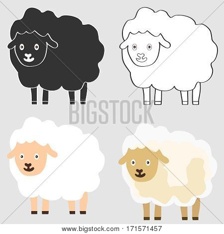 Sheep, lamb icon, animal, pet. Flat design, vector illustration, vector.