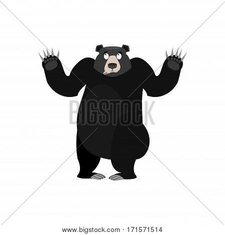 Baribal Surprised Emoji. American Black Bear Astonished Emotion Isolated