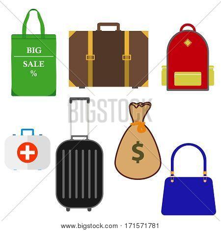 Suitcase, backpack, bag, doctor's bag, a bag of money. Flat design, vector illustration, vector.