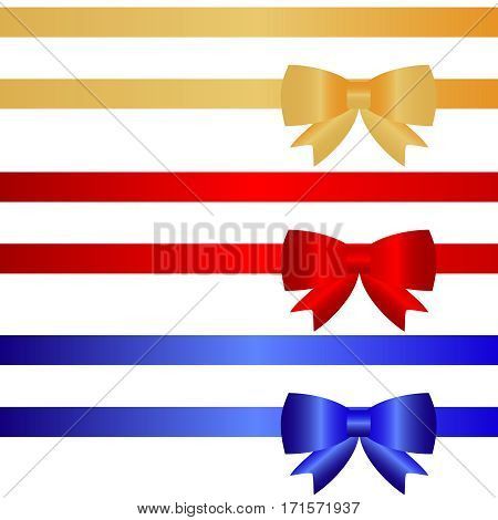 Festive ribbons with bows, packing tape, wrap, tie a ribbon. Flat design, vector illustration, vector.