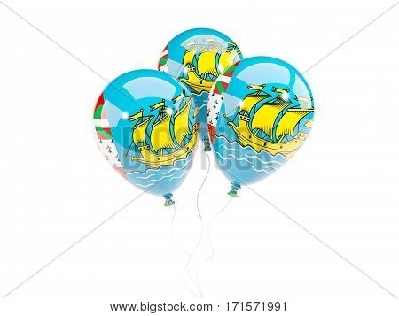 Three Balloons With Flag Of Saint Pierre And Miquelon
