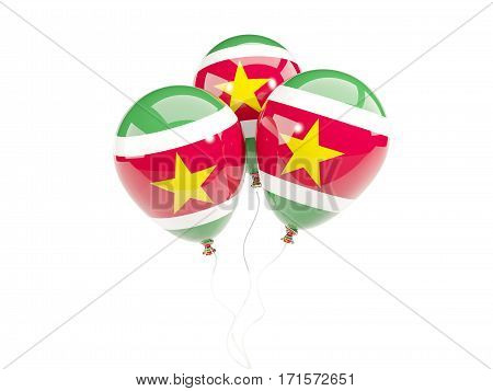 Three Balloons With Flag Of Suriname