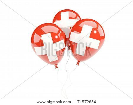 Three Balloons With Flag Of Switzerland