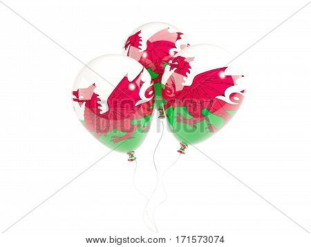 Three Balloons With Flag Of Wales