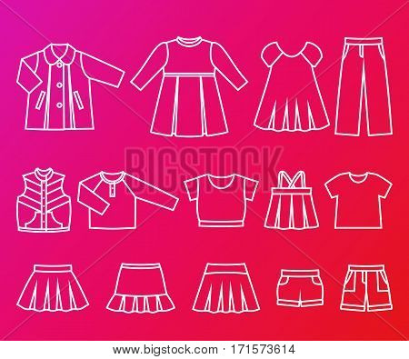 Line icons girls' clothes. Set of children's outline clothing. Vector linear flat style illustrations for your web design on pink background.