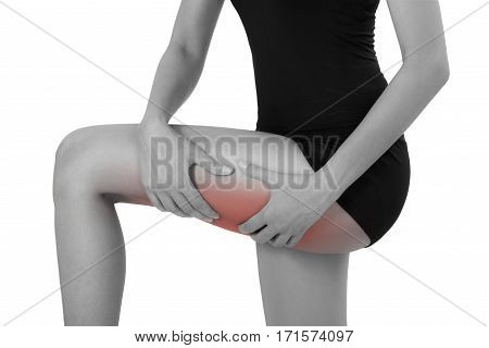 woman holding her beautiful healthy body with massaging thigh in pain area black and white color with red highlighted Isolated on white background.