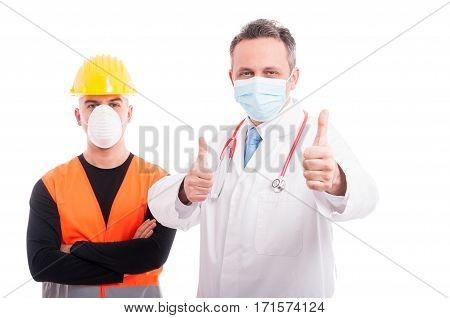 Friendly Constructor And Doctor Showing Thumb Up