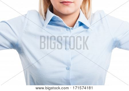 Close-up Of Female Wearing Shirt Showing Sweat Stains