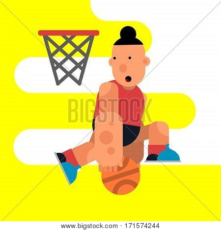 Cartoon basketball player jumping with a ball. Vector illustration of game. Character for motion design.