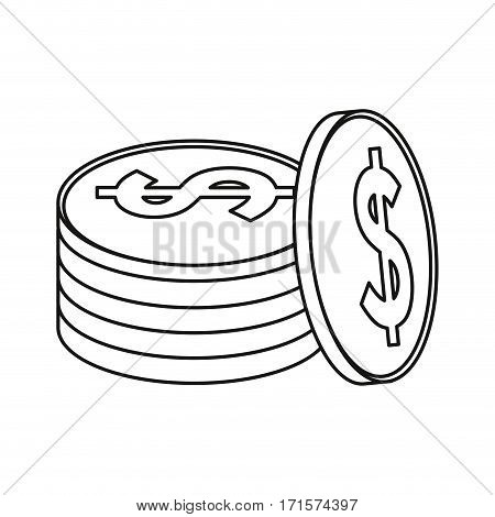 coins currency money stack thin line vector illustration eps 10