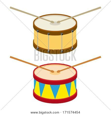 Drum, drum icon, musical instrument, banging sticks. Flat design, vector illustration, vector.