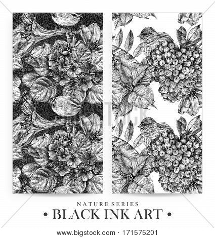 Set of seamless patterns with dotted flowers birds and plants drawn by hand with black ink. Graphic drawing pointillism technique. Floral background in dotwork style. Black and white