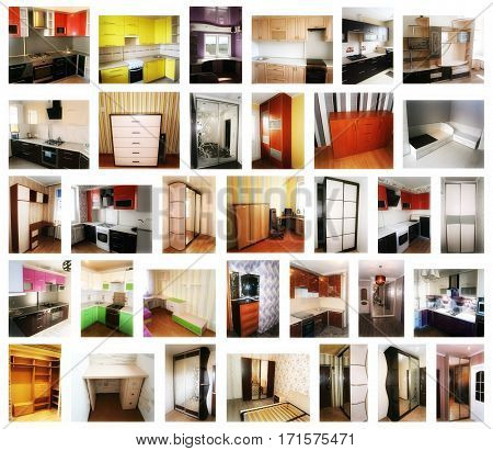 Collage on the theme of furniture. Kitchens, cabinets, cabinets coupe, tables, cupboards, dressers.