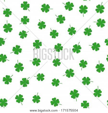 Clover leaf seamless vector pattern. Clover leaves on a white background