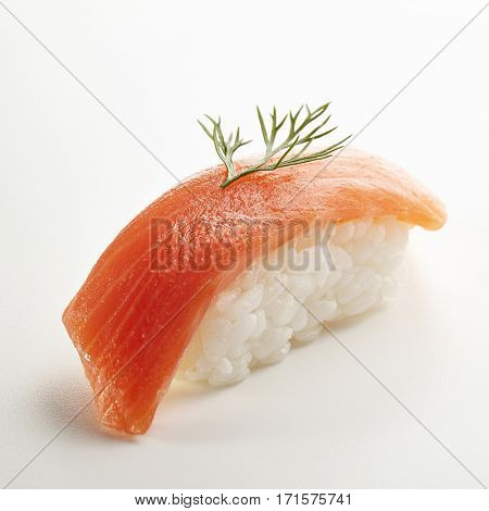 Japanese Sushi - Sake Nigiri Sushi (Smoke Salmon Sushi) on White Background