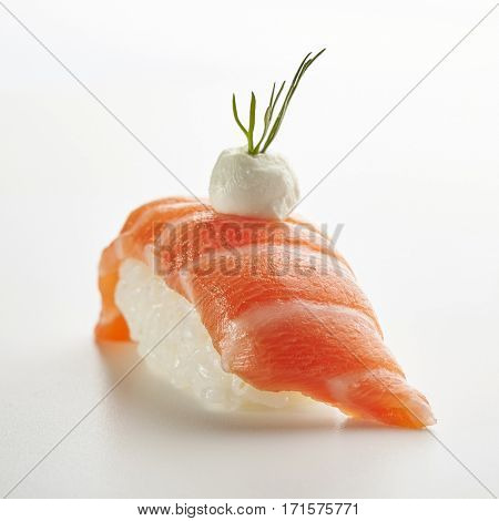 Japanese Sushi - Sake Nigiri Sushi (Salmon Sushi) with Cream Cheese on White Background