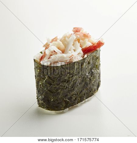 Japanese Sushi - Crabmeat Seaweed Gunkan Sushi  on White Background