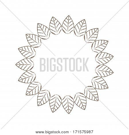 round leaves decorative frame label vector illustration eps 10