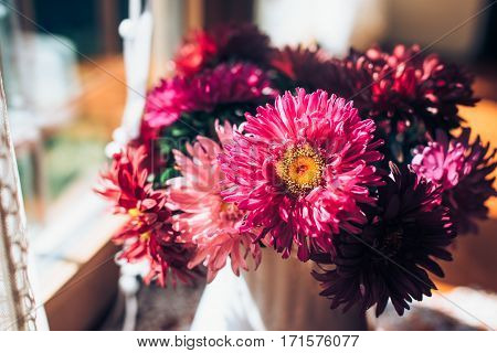 Beautiful pink bouquet of asters by the window. Light home decoration with a flowers asters. Copy space.